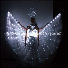Newest Wholesale Price White color Led Wedding Dress Performance Costume big wings Sexy Led Light Dress Free Shipping