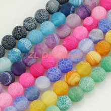 Matte Frosted Natural Stone Spaced Beads.6/8/10mm Round Dream Fire Dragon Veins Bead DIY for Necklace Bracelet Jewelry Making.