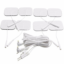 8pcs Square Replacement Tens machine Electrode pads 5x5cm with one pair of 2 pin leads Wires Cables Health Massage Tools(China)