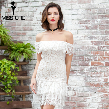 Missord 2017 de slash sexy cuello de las colmenas del hombro lace mini dress ft8164
