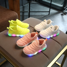 2017 New hot sales soft running LED kids shoes slip on cute baby girls boys shoes solid color candy color children sneakers