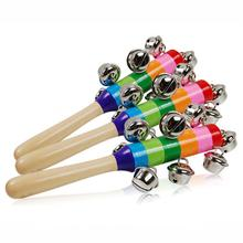 New Hot Baby Wood Rattle Rainbow Kid Pram Crib Toy Activity Wooden Handle Bell Stick Shaker Rattle Baby Gift(China)