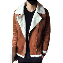 Men's Thick Warm Winter Leather Suede Jacket brown Fashion Mink Coat Faux Fur Slim outerwear zipper jackets turn down collar(China)