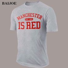 BAIJOE United Kingdom Red Letter Print T Shirt Men Cotton O-Neck Manchester 2016 Summer Fashion Tee Shirts Camisa Masculina tees(China)