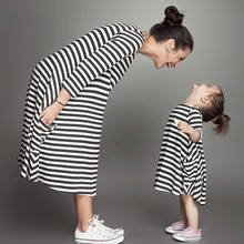 European and American style Partent-child activity striped long dress Mom and daughter style dress Kid's o-neck mid-calf dress(China)