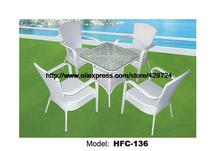 Modern White Table Chairs European Style Outdoor Garden Furniture Factory Direct Sale Leaisure Rattan Garden Furniture Set(China)