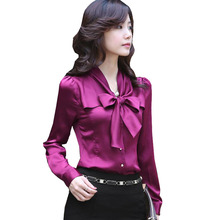 Cheap clothes china high quality satin blouse bow decorated women's long sleeve blouse tops lady plus size S-XXXL ZY1991