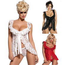 White Black Red Plus Size Lace S M L XL 2XL 3XL 4XL 5XL 6XL Sexy Lingerie Babydoll Front Open Nighty Chemise Sleepwear