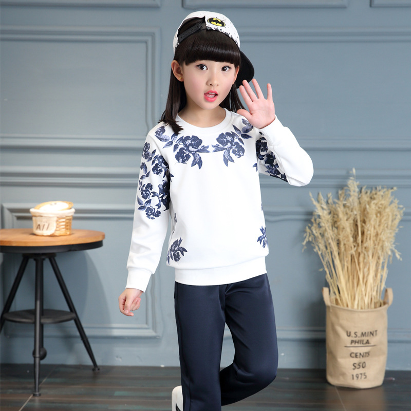 Kids girls spring / autumn 2 pcs set 2017 new baby girls sports fashion clothing big virgin suit 4/5/6/7/8/9/10/11/12/13<br>