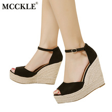 MCCKLE Fashion Superior Quality Comfortable Bohemian Wedges Women Sandals For Ladies Shoes High Platform Open Toe Plus Size(China)