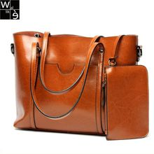 Wallike Genuine Leather Bags Female Designer Brown Handbag Women Messenger Bags Leather Shopping Tote Shoulder Bag Big 2017 2pcs