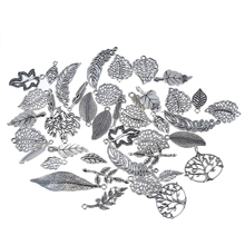 LASPERAL New Arrival Antique Silver/Gold Color Charms Random Mixed Leaf Pendants For FashionJewelry Making Necklace Pendants DIY