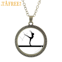 TAFREE Balance beam Necklace the gymnast poised herself on the balance beam gracefully fashion Gymnatics novelty jewelry NS558