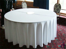 10pcs White 100% Polyester Round Wedding Tablecloth for Hotel
