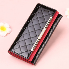 Women's Wallets Women Cowhide Leather Wallet Luxury Design Ladies Party Clutch Patent Leather Purses Long Card Holder