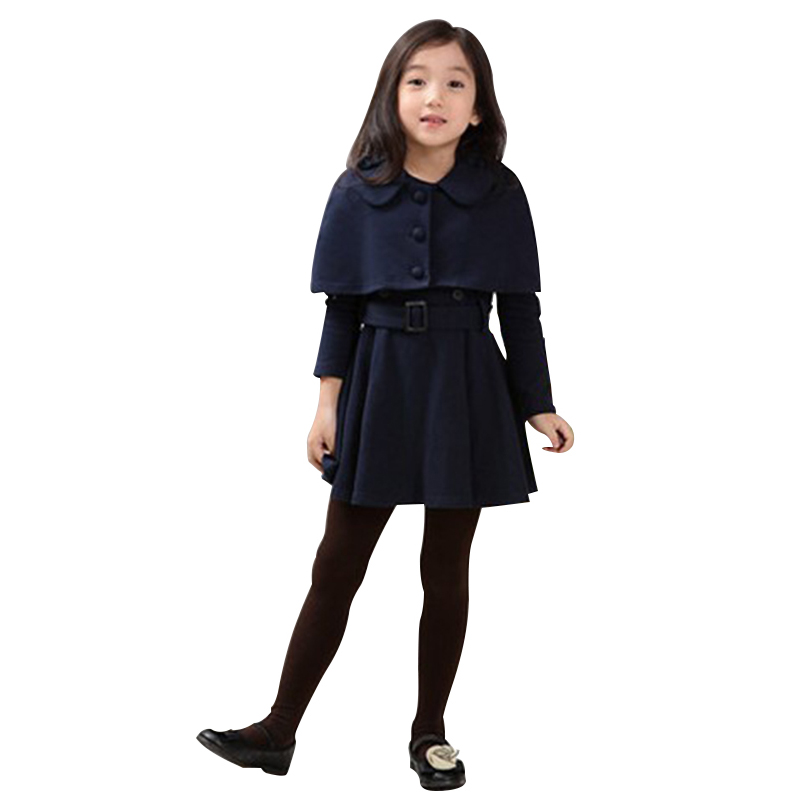 Autumn Kids Dresses For Girls Woolen Shawl Vestido Princesa A-Line Dress Girl Double Breasted Long Sleeve Baby Clothes<br><br>Aliexpress