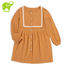 Yeedison Khaki Spring Party Dresses For Girl Kids 3-12T Long Sleeve Cotton Girls Dress Child Casual Daily Wear teenagers Clothes(China)