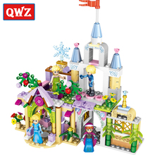 QWZ 4Style 4 in1 Princess Castle Building Blocks Sets DIY Bricks Birthday Gifts Toys For Girls Compatible With Legoe Friends