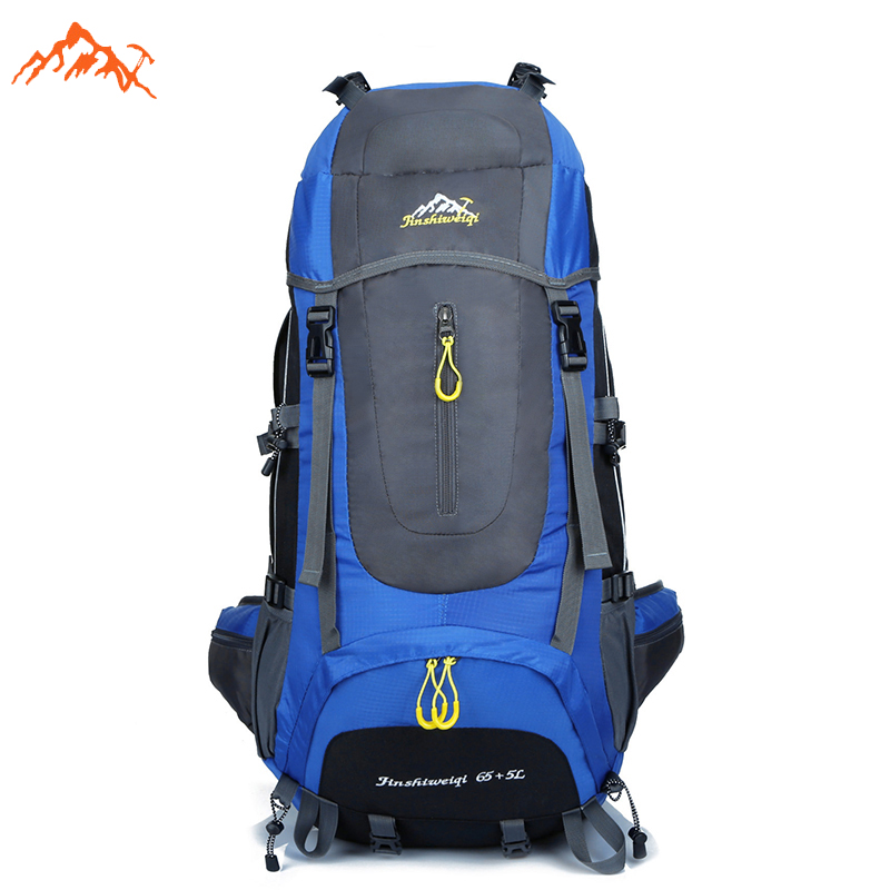 Hot Sale Mens Outdoor Climbing Backpacks Waterproof Nylon Travel Mountaineering Bags For Walker Large Hiking Backpack 65L<br>