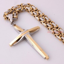 Jesus Cross Pendant Necklace Stainless Steel Men Jewelry Byzantine Link Chain Popular Christian Color Silver Gold Color
