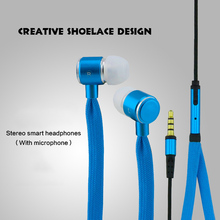 Shoelaces Earphone Stereo Metal Bass Headphones Headset Music Earpieces with Microphone for iPhone Xiaomi Samsung Sport