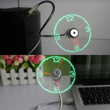 Adjustable Flexible USB Gadget Mini LED Light USB Fan Clock with Realtime wholesale