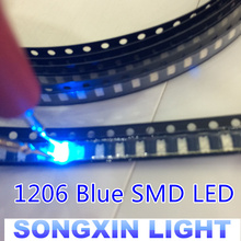 100PCS Free Shipping 1206 Blue Led Super Bright SMD LED diodes 3.2*1.6*0.8MM 460-470NM light-emitting diodes SMD 1206 LED Blue