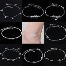 Women Beaded Silver Plated Anklet Heart/Daisy Flower/Hemp Rope/Bell Foot Chain Ankle Bracelet Barefoot Sandals Summer Jewelry(China)