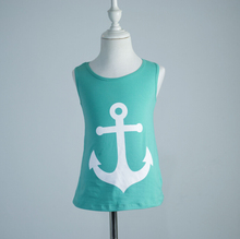 adult size Summer Style women achor picture vest girls clothes baby t shirts toddler girl summer clothes back bow  tops