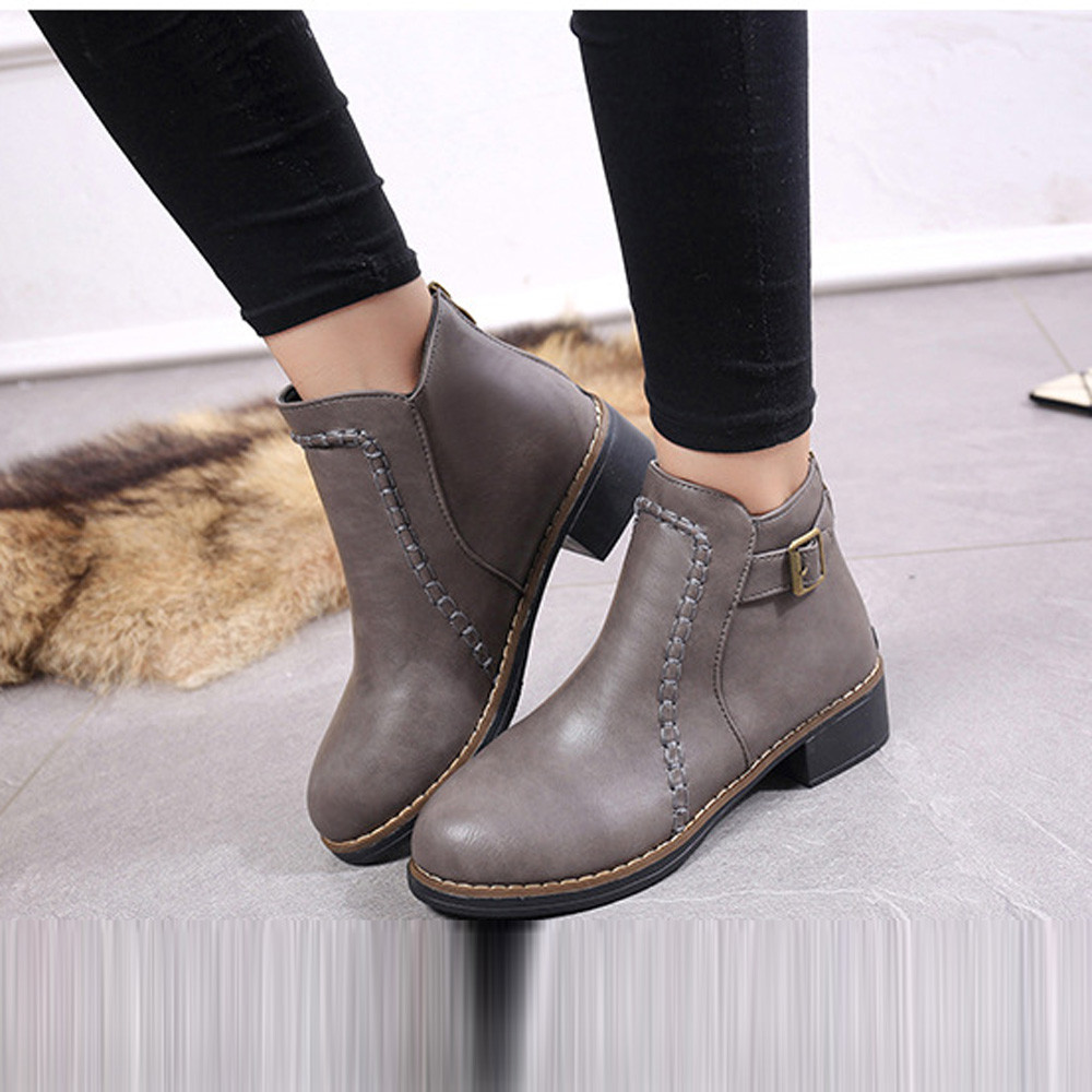 Hot Sale 2017 Winter Keep Warm Flat Shoes Womans Boots Ankle Flock Ladies Leather Slip On Motorcycle Fashion Women Shoes Female<br><br>Aliexpress