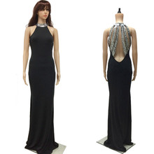 New Sexy Sequined High Collar Camis Long Dress