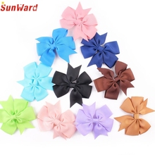 Trendy Style New Fashion 10PCS Cute Girl kids Bow Hair Clip Grosgrain Ribbon Boutique Bowknot Hairpin Gift 1Set