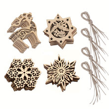 10pcs Snowflake Wood Embellishments Christmas Rustic Tree Hanging Ornament Home Decoration Accessories #MS044