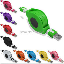Free Ship 80CM 10 Color Flat noodle Retractable Cable Micro USB Charger Cable for samsung s3 s4 n7100 blackberry htc