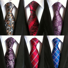 hot paisley tie for mens 100% silk neckties designers fashion men ties 8cm navy and red striped tie wedding(China)