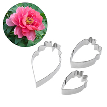 3pcs/set Metal Stainless Steel Tools Peony Petals Flower Cookie Cutters Set Home Furnishing Products Kitchen Baking Supplies