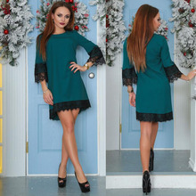 Awedrui New Summer Women's Party Dress Casual Half Sleeved Lace Sheath Bodycon Mini Dresses Vestidos Street Dresses Dark Green