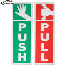 PUSH & PULL Door Window Gloss Laminated Warning Sign Vinyl Waterproof Decal Sticker