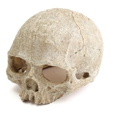 Modern Aquarium Resin Spooky Hollow Skull Head Cave Ornament Resin Crafts for Aquarium Fish Tank Landscape Decoration Cool Decor(China)