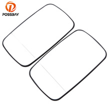 POSSBAY Car Door Mirror Heated Glass White Side for BMW E46 4 Door 1998-2006 Wide Rearview Mirror Lens with Heating