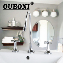 OUBONI Bathroom Modern 3PCS Widespread Bathtub Fauce Chrome Polish Water Tap Basin Sinks Mixers Taps Faucets 66uu(China)