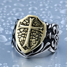 BEIER 2017 man biker cross ring personality Stainless Steel Knights Ring factory direct sale jewelry BR8-284