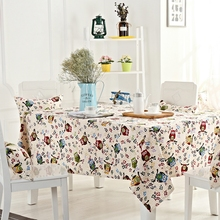 Night Owl Pattern Tablecloth Lovely and Cute Design for Rectangle Tables 100% Cotton Tablecloth Recyclable and Useful