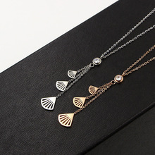 TYME Stainless Steel three fan-shaped short necklace pendant fashion girls all-match titanium steel chain silver pendant women(China)