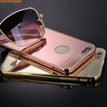 For Apple iPhone SE 4s 5c 5G 5s 6 6G 6s Plus back cover Mirror shell phone case Hybrid Metal Frame B umper + Clear Acrylic Panel(China)