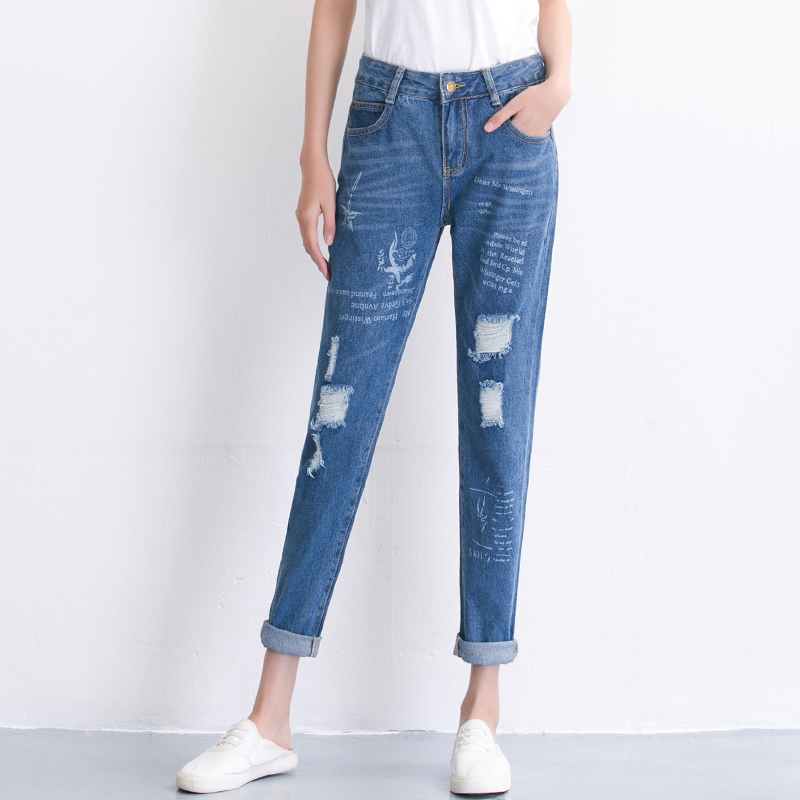 Hot sale Women ripped jeans Fashion boyfriend jeans for woman Loose hole denim pants Free shippingОдежда и ак�е��уары<br><br><br>Aliexpress