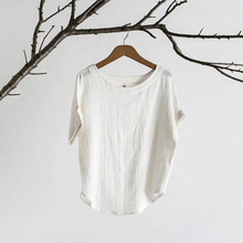 Factory Direct Supply  Cotton Linen Original Women's Clothing Solid Color Bamboo Round Neck Short Sleeve T shirt 2017 Summer