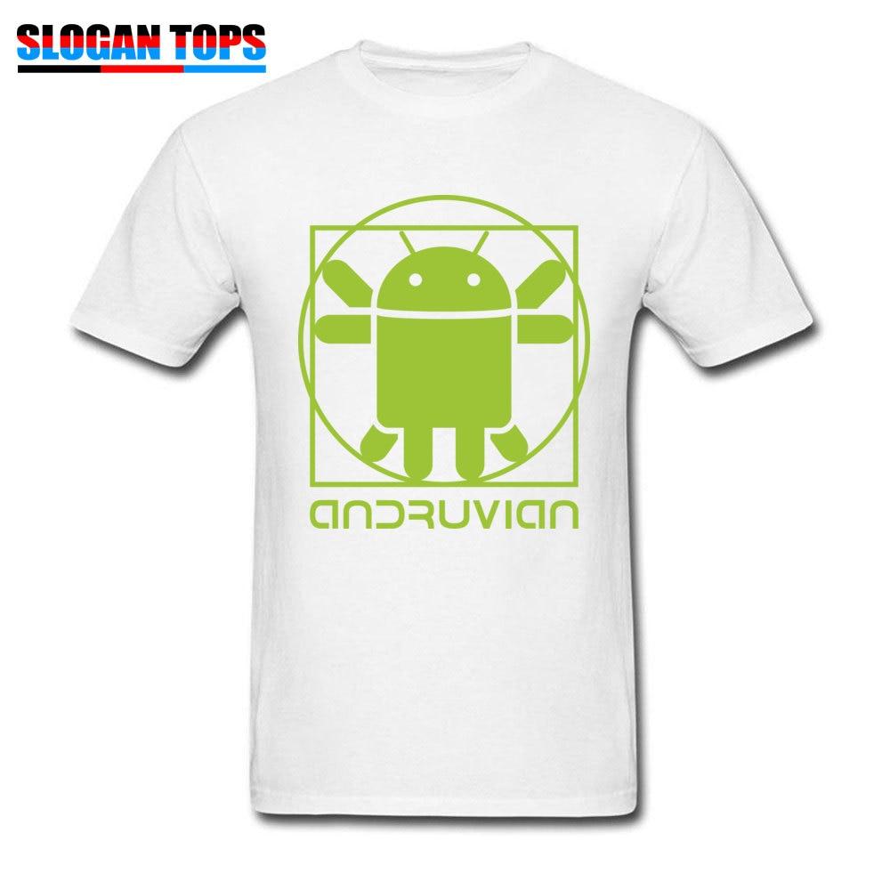 Vitruvian Droid green Men Funny Gift Tops & Tees O-Neck Summer Cotton T Shirts Summer Short Sleeve Tee Shirt Free Shipping Vitruvian Droid green white