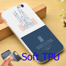 spain barcelona city  Soft TPU Phone Case for iPhone 7 6 6S Plus 4 4S 5C 5 SE 5S Cover
