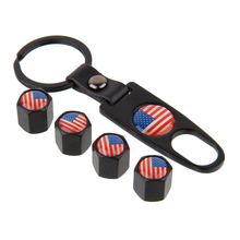 4Pcs/Set USA Flag Metal Car Tire Valve Stem Cap Air Dust Covers Tool Wrench Keychain Car Styling For Cadillac Ford GMC Buick
